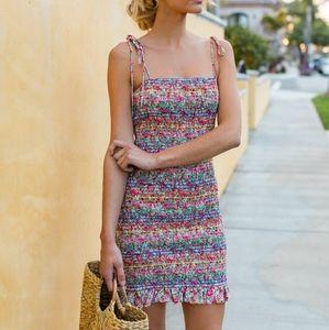 Storia Smocked Floral Dress Multi-Color Elastic
